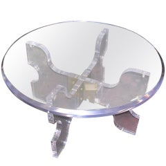 Vintage Thick Lucite Coffee Table Attributed to Knut Hesterberg
