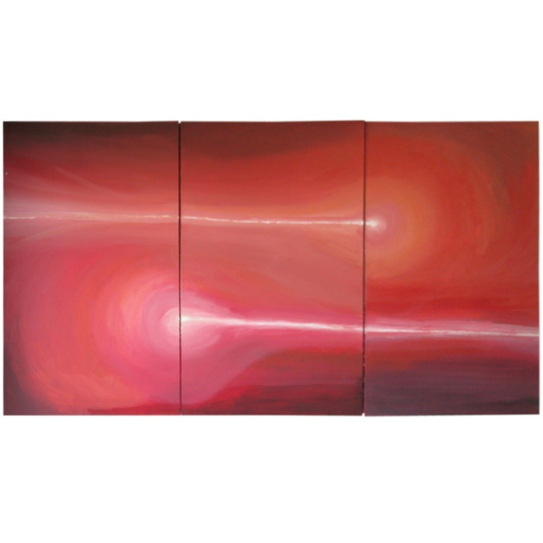 Modernist Triptych Oil on Canvas For Sale