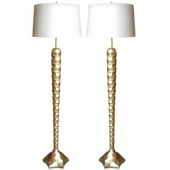 Pair of 22k Gold Leafed Florence Lamps by Bryan Cox