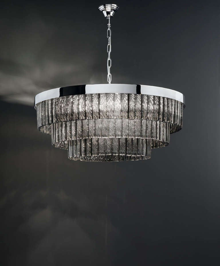Glamorous Mazzega Smoky Drum Chandelier. Each glass piece is hand blown in Murano, Italy.