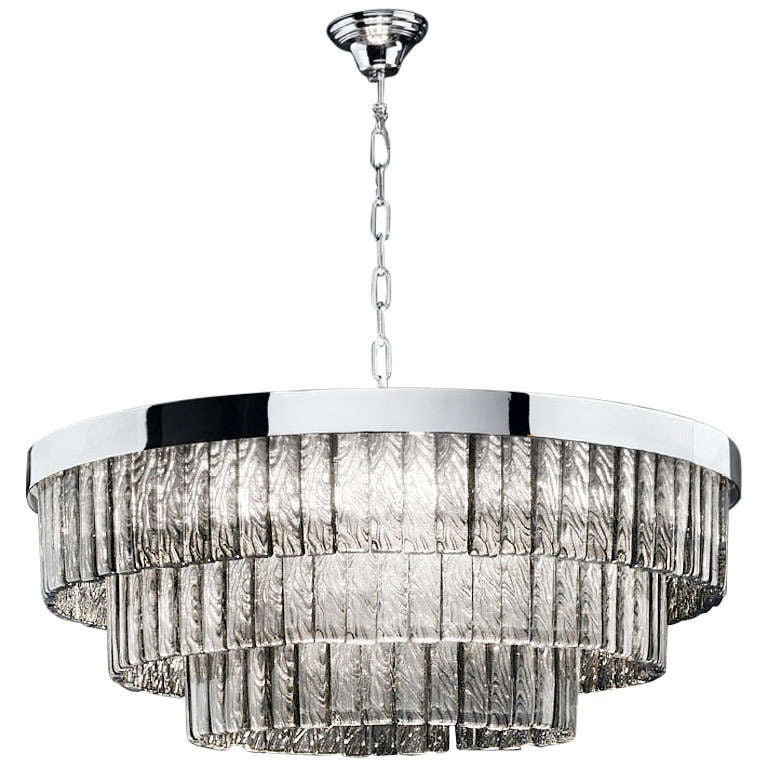 Glamorous Mazzega Smoky Drum Chandelier For Sale