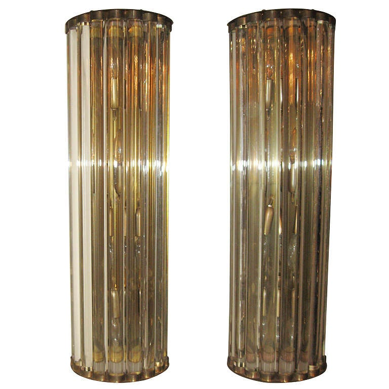 Exuberant Pair of Crystal Bar Wall Sconces at 1stdibs