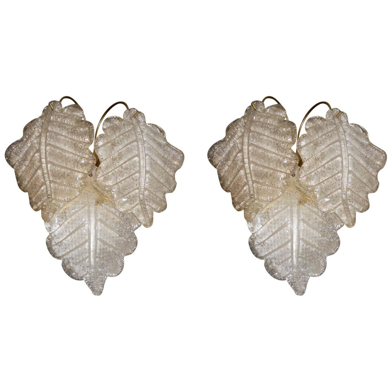 Charming Pair of Frosted Leaf Wall Sconces at 1stdibs