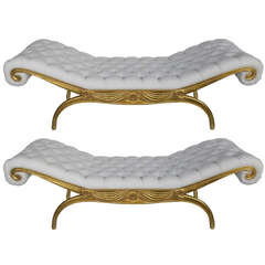 Articulated Pair of Chaises Lounges in the Style of Andre Arbus