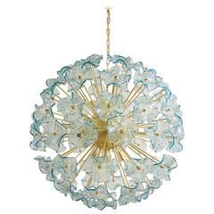 Beautiful Italian Murano Glass Aquamarine Flowers Chandelier