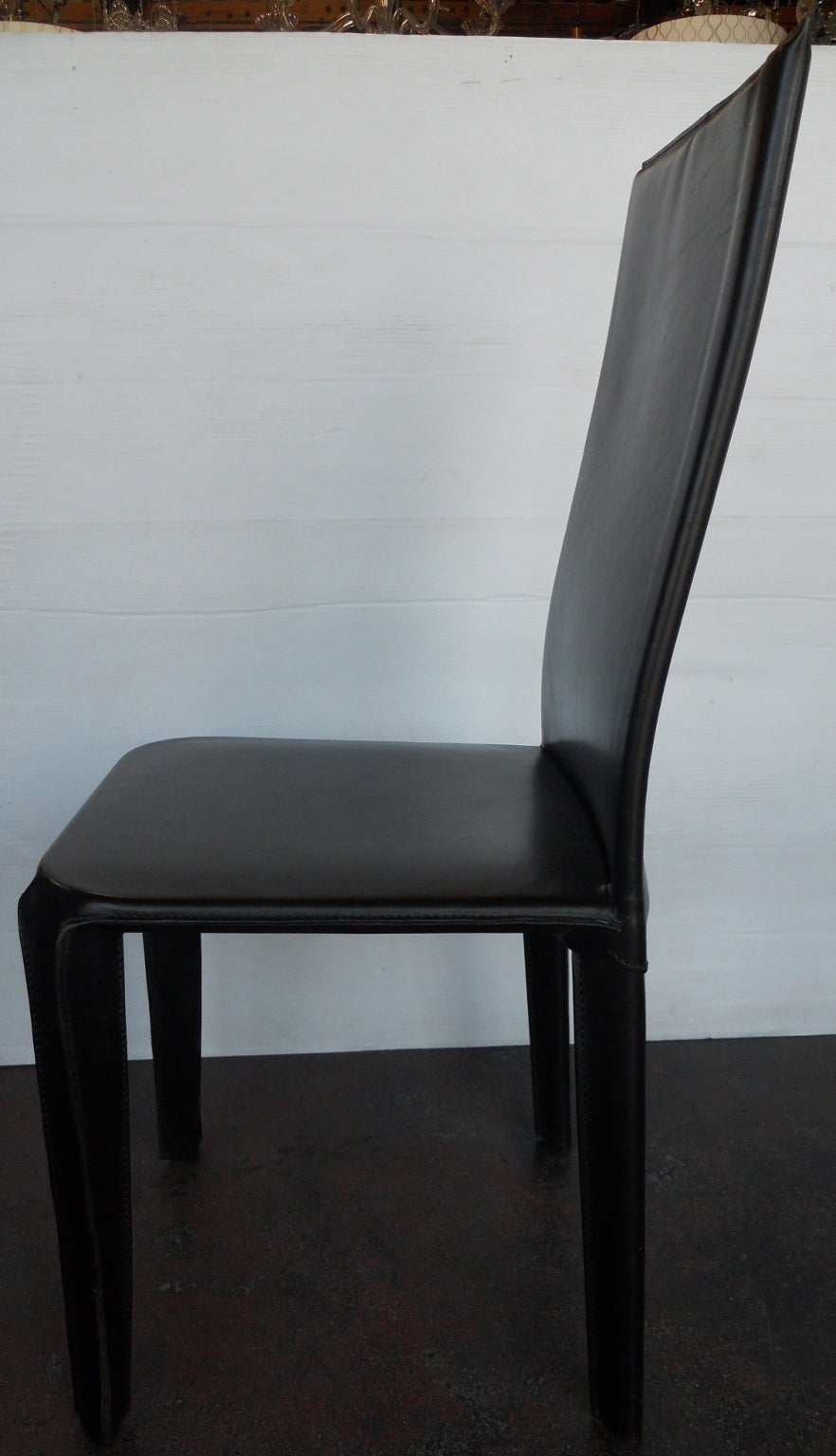 Twelve Italian Black Leather Dining Chairs By Arper For