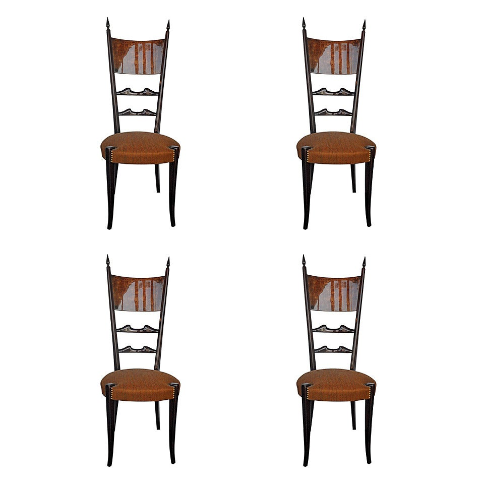 Set of Four Aldo Tura Side Chairs