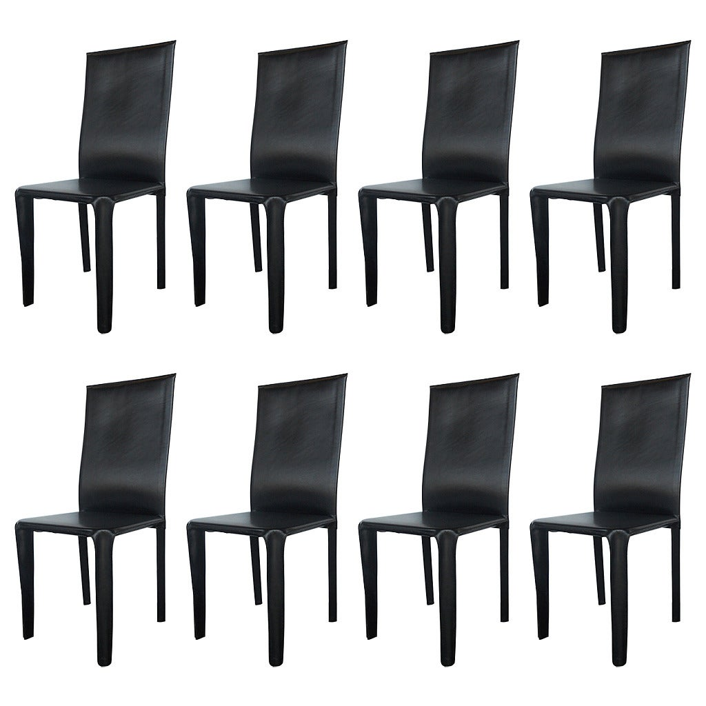 twelve italian black leather dining chairs by arper for sale at  - twelve italian black leather dining chairs by arper
