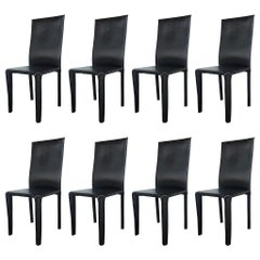 Twelve Italian Black Leather Dining Chairs by Arper