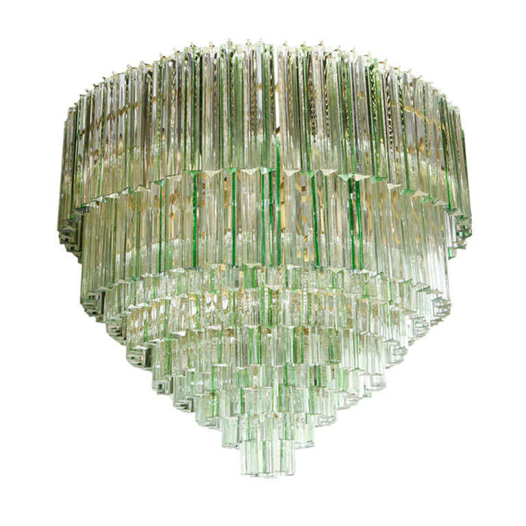 Impressive Green Stripe and Clear Crystal Chandelier in ...