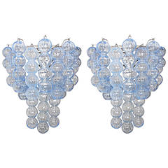 Pair of Large Blue Murano Glass Ball Sconces