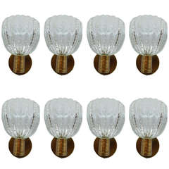 Stunning Set of Eight Barovier & Toso Pulegoso Wall Sconces