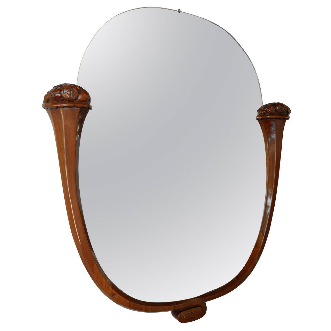 Louis Sue and Andre Mare Attributed Carved Mahogany Wall Mirror
