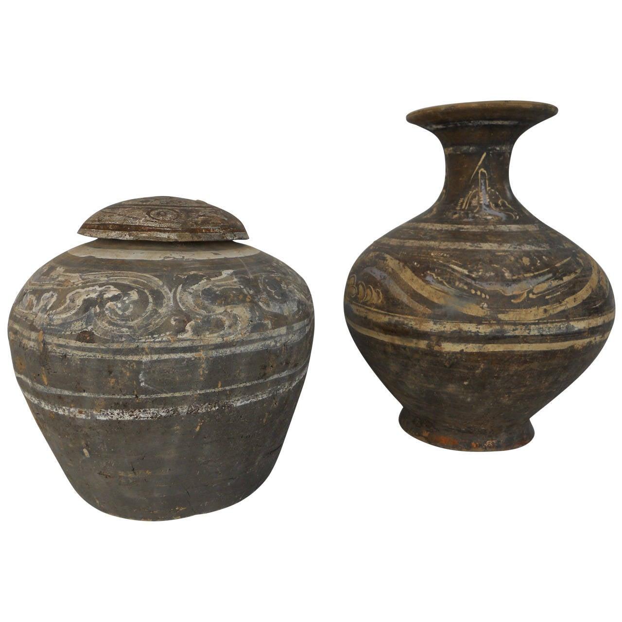 Han Dynasty Set of Urn and Vase