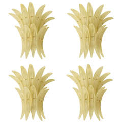 Charming Set of Four Barovier and Toso Palma Wall Sconces