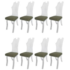 Great Set of Eight Lucite Chairs