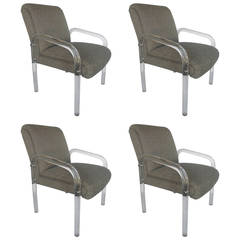 Set of Four Lucite Dining Chairs by Lion in Frost