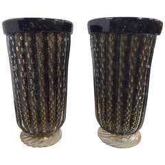 Exceptional Pair of Black and Gold Signed Murano Vases
