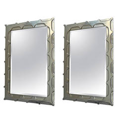 Pair of White Gold Leafed Mirrors by Bryan Cox