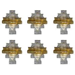 Wonderful Set of Six Mazzega Amber Wave Wall Sconces