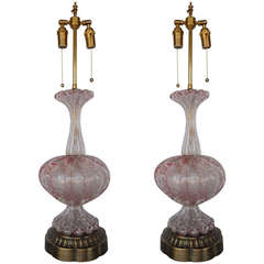 Fabulous Pair of Pink and Silverleaf Murano Lamps