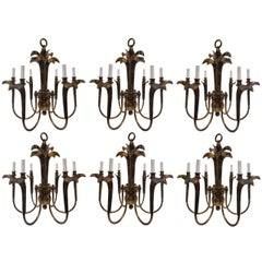 Charming Set of Six Brass Chandeliers