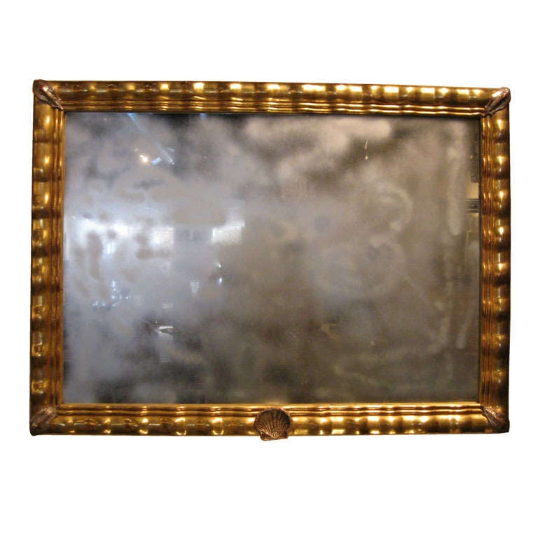 Hand Carved Water Gilt Wood Mirror