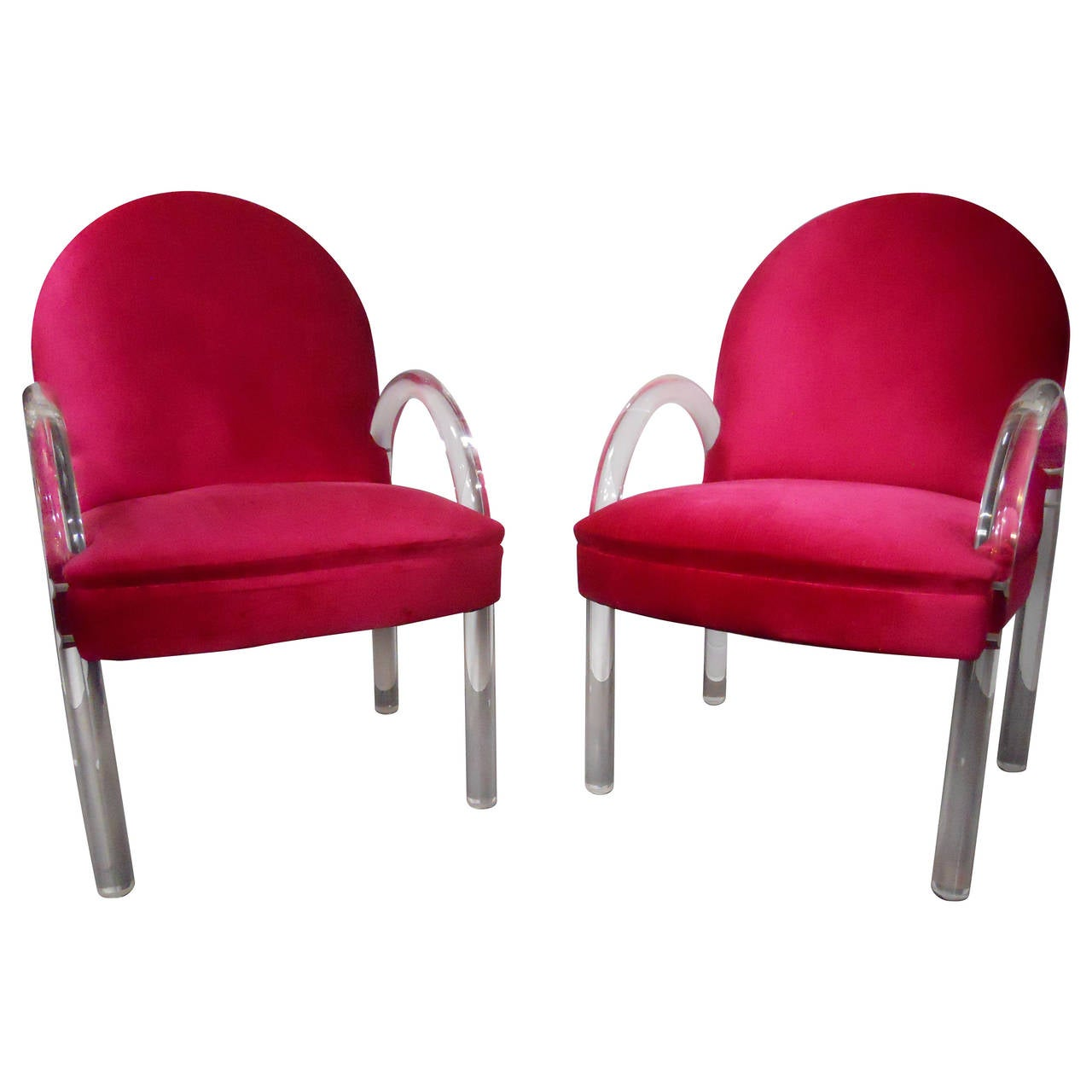 Pair of waterfall lucite charles hollis jones chairs for for Perspex furniture