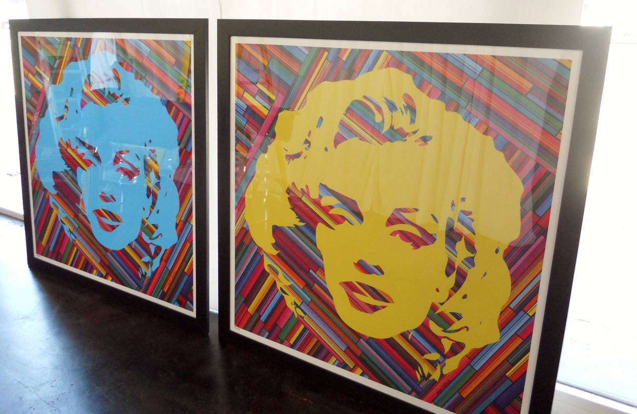 American Set of Two Mauro Oliveira Marilyn Monroe Lithographs For Sale