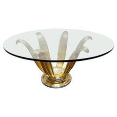 Exquisite White and Yellow Gold Leafed Table