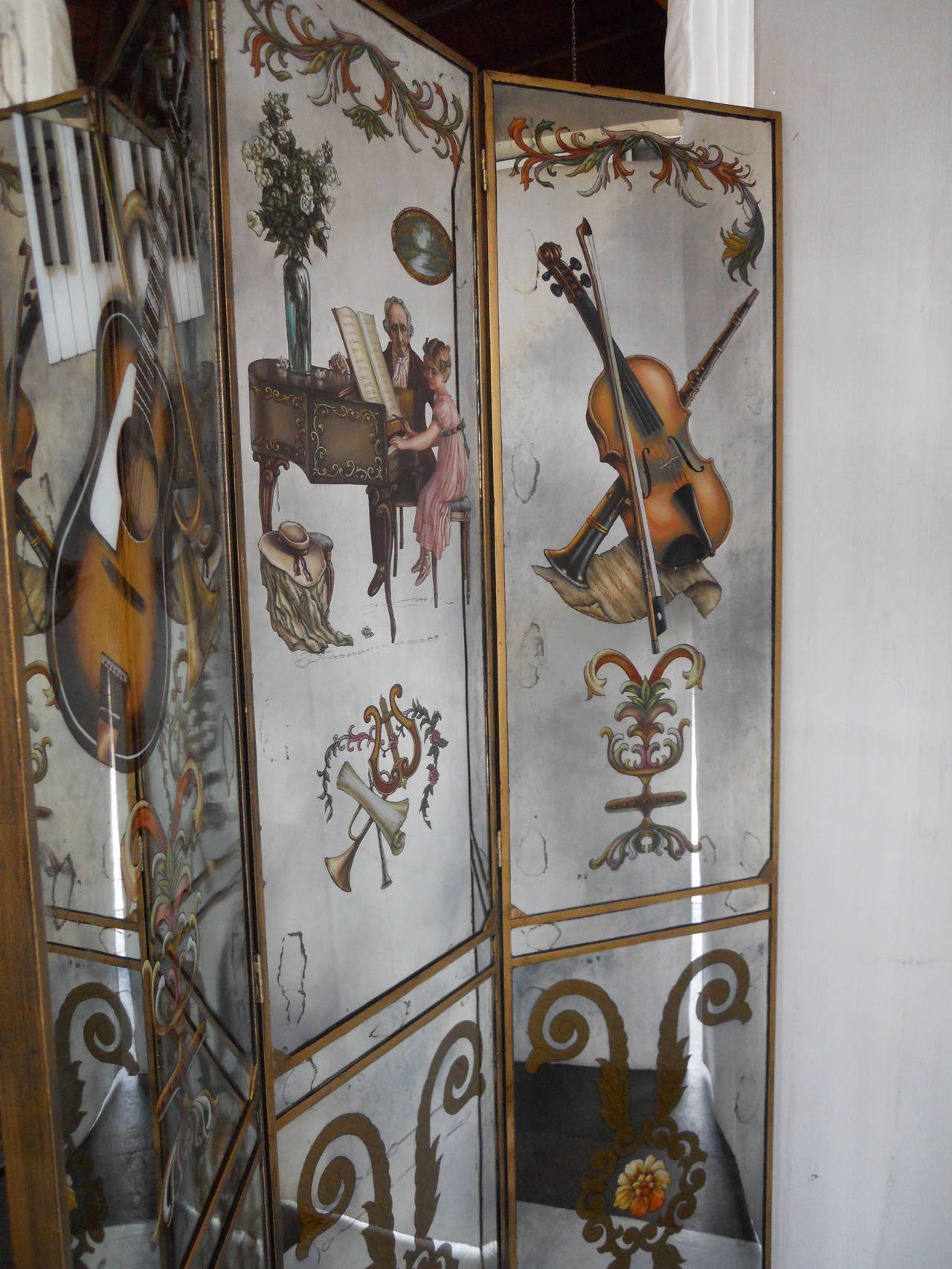 French mirrored screen reverse hand-painted.