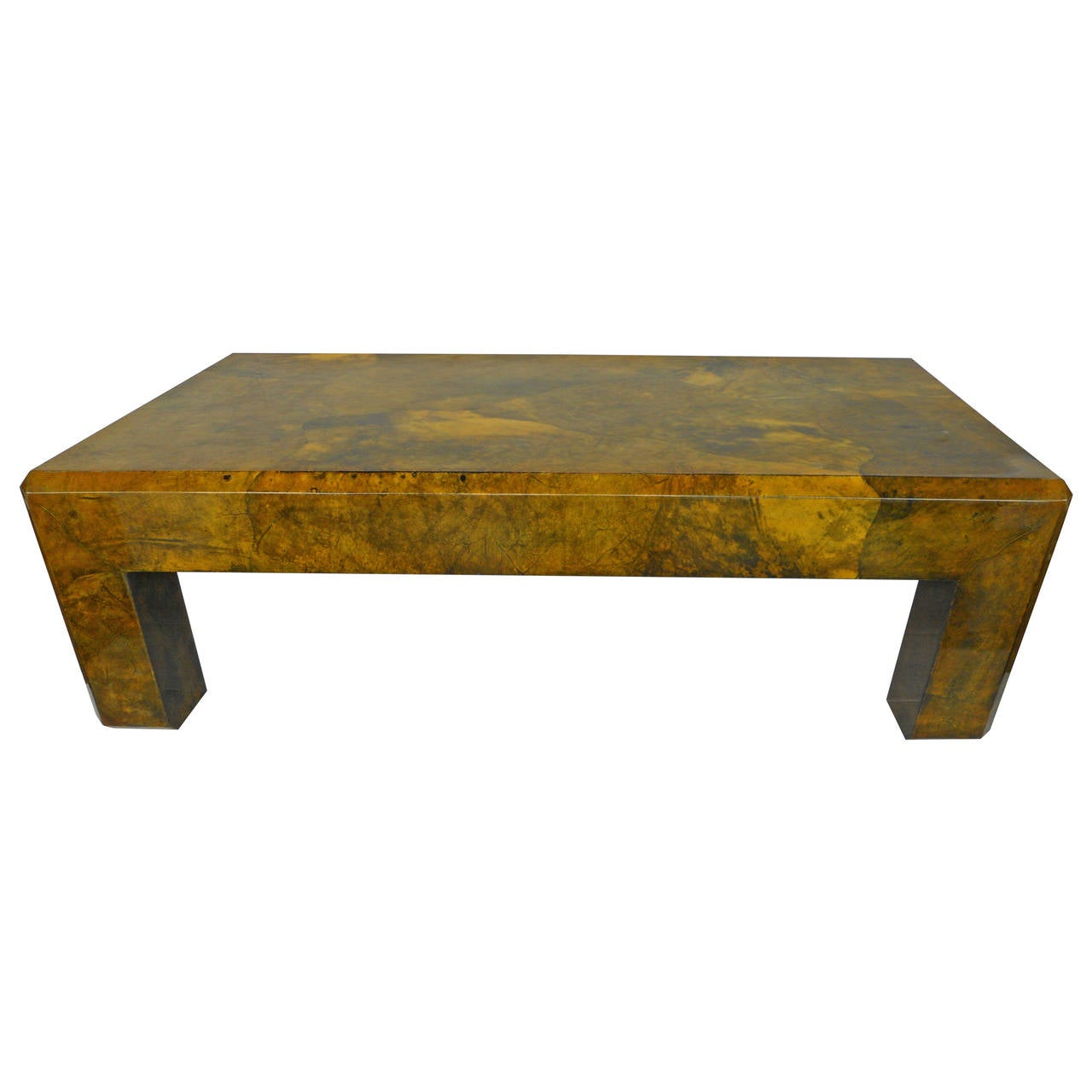 Parchment Coffee Table In The Style Of Karl Springer At 1stdibs