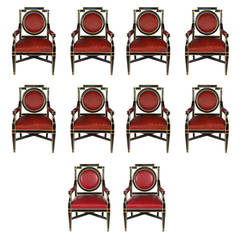 Expressive Set of Ten French Chairs