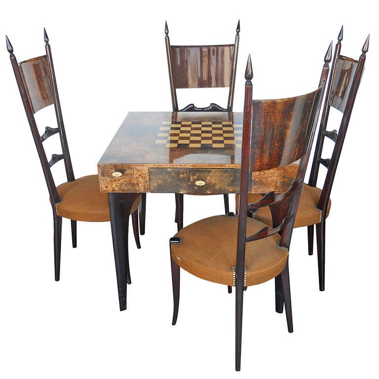 Finely detailed aldo tura game table and chairs set at 1stdibs for Contemporary game table and chairs