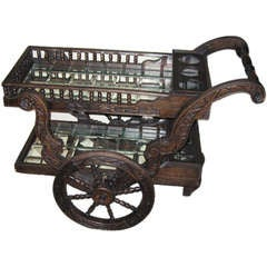 HAND CARVED AND MIRRORED TEA CART