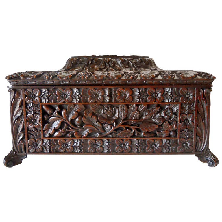 Beautiful European Oak Handcarved Wooden Box at 1stdibs