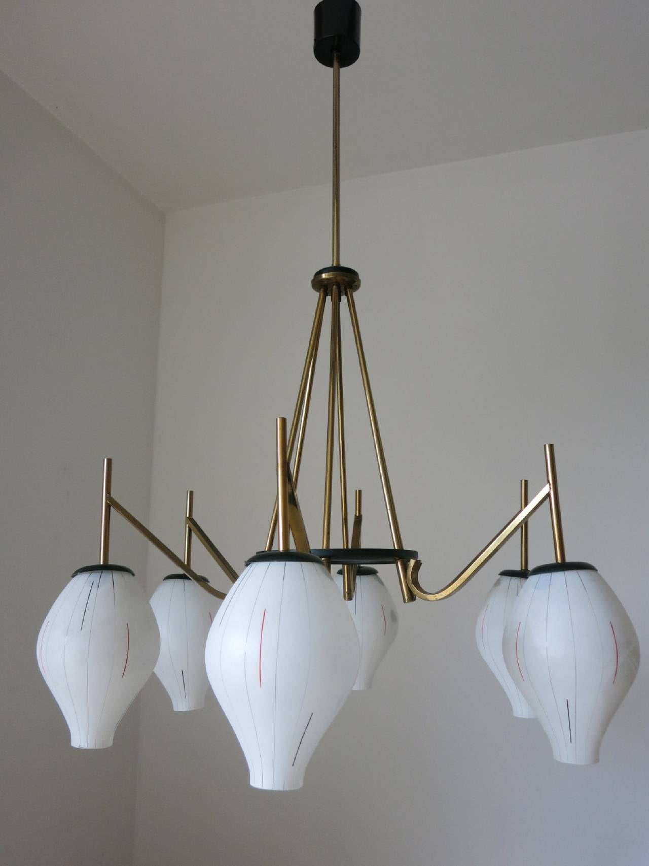 Charming White Glass Shades Chandelier In The Style Of Stilnovo At 1stdibs