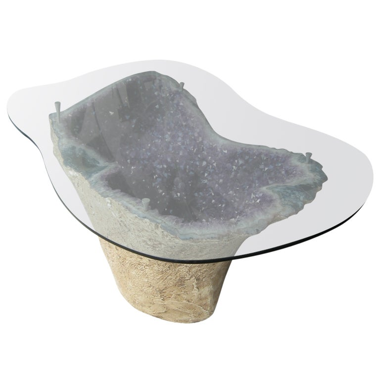 Fabulous amethyst geode table at 1stdibs for Geode side table