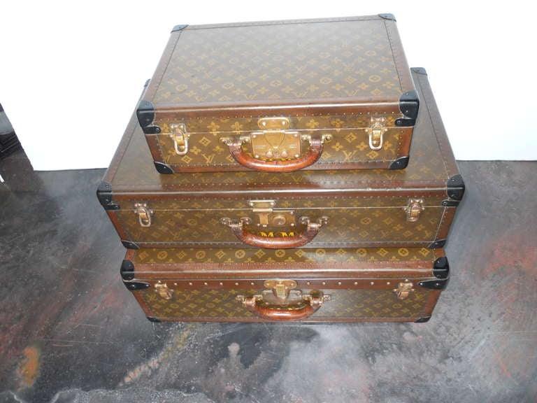 Great Set of 3 Louis Vitton Vintage Suitcases 2