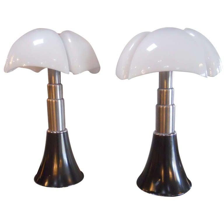 Superb Pair of Gae Aulenti Pipistrello Table Lamps