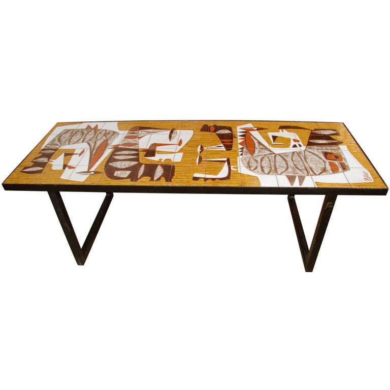 Animal Figure Tile Top Table At 1stdibs