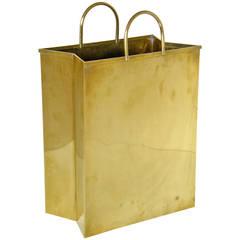 Italian Brass Shopping Bag Waste Basket
