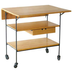 Paul McCobb Maple and Iron Drop Leaf Serving Cart for Winchendon