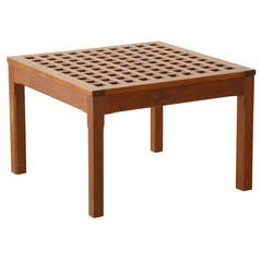 Square Teak, Grid-Top Table