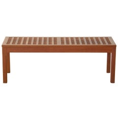 Rectangular Teak Grid Top Coffee Cocktail Table or Bench