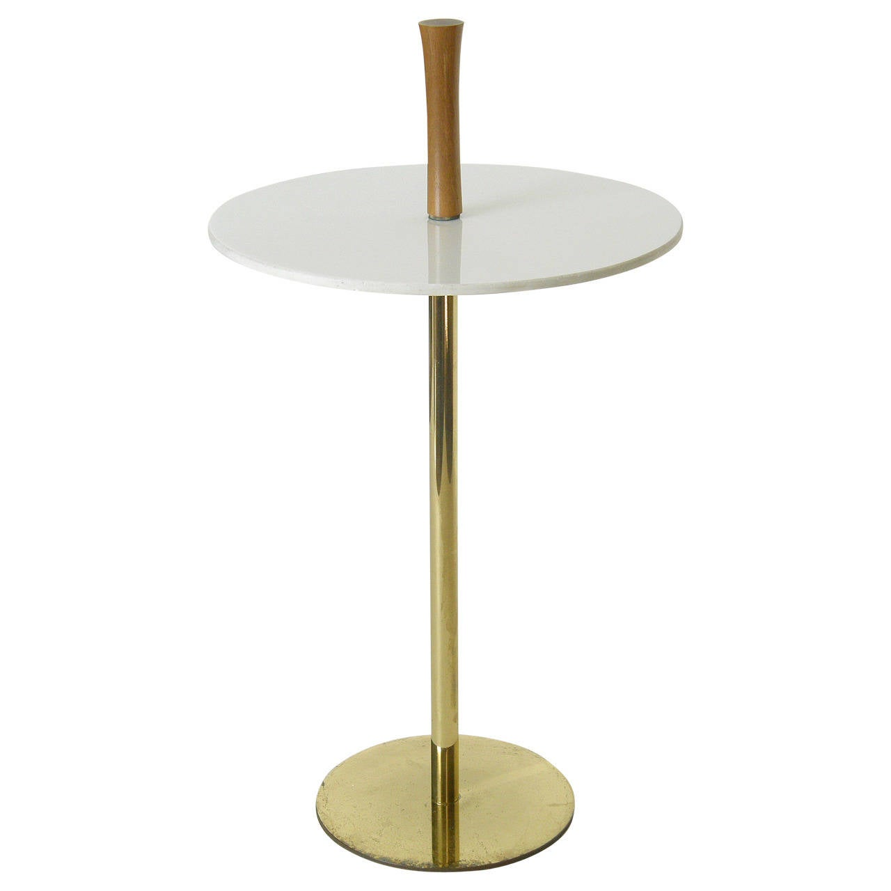 brass and carrara glass portable side table at 1stdibs
