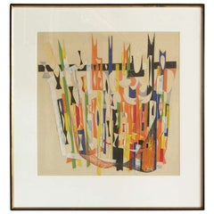 1946 Alexander Girard Mixed Media Collage with Cut Tape and Colored Pencil