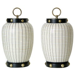 Pair of Lantern Shaped Table Lamps with Painted Glass Shades and Brass Studs