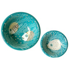 Pair of Waylande Gregory Bowls with Underwater Fish Scene and Gold Accents
