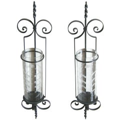 Giant Wrought Iron Hurricane Candle Sconces Wall Mounted Etched Glass Shades